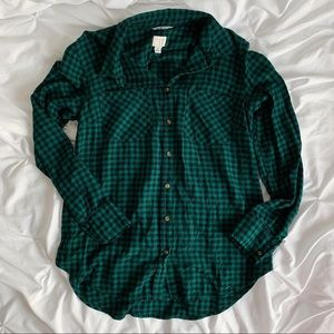 A New Day Green Blue Gingham Plaid Flannel
